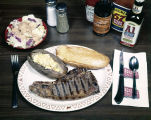 Steak dinner at one of the Bonanza Sirloin Pit restaurants in Montgomery, Alabama.