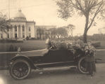 Members of the Motor Corps of the National League for Women's Service parked in front of the...