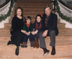 Governor James E. Folsom, Jr., and family on the stairs at the Governor's Mansion.