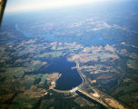 Aerial view of Lake Jordan and the Bouldin Dam in Elmore County, Alabama.