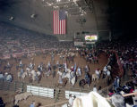 Grand entry of horses and riders at the Southeastern Livestock Exposition at Garrett Coliseum in...