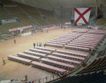 Tables set up for a banquet for the Alabama Road Builders Association at Garrett Coliseum in...