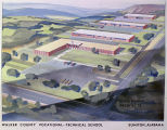 Drawing of the Walker County Vocational-Technical School in Sumiton, Alabama.