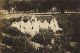 Several students on the campus of the Downing Industrial School Girls in Brewton, Alabama.