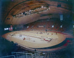 Interior of Garrett Coliseum in Montgomery, Alabama, set up for a college track meet.