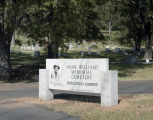 Sign at the entrance of the Hank Williams Memorial Cemetery in Montgomery, Alabama.
