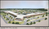 Drawing of the Childersburg Middle School and High School in Childersburg, Alabama.