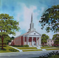 Drawing of the First Baptist Church in Demopolis, Alabama.