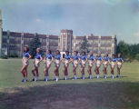Majorettes of the Sidney Lanier High School band in front of the school at 1756 South Court Street...