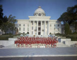Robert E. Lee High School marching band on the steps in front of the State Capitol in Montgomery,...