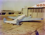 Airplane in front of the hangar of the Montgomery Aviation Corporation at Dannelly Field in...