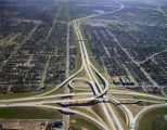 Aerial view of the interchange of Interstate 65 and Interstate 85 in Montgomery, Alabama, looking...
