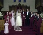 Members of the Savage-Mainor wedding party St. James Methodist Church at 3481 South Court Street...
