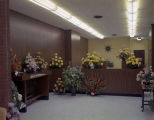 Front desk of the Security Federal Savings and Loan Association in the Frank Leu Building at the...