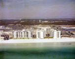 Hotels on the beach at Gulf Shores, Alabama.