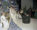 King and queen receiving guests on stage at the Krewe of the Athenians Ball at Garrett Coliseum in...