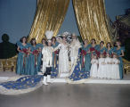 King and queen on stage with their attendants at the Krewe of the Athenians Ball at the Montgomery...