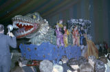 Float from the Krewe of the Phantom Host parade on display during the ball at Garrett Coliseum in...