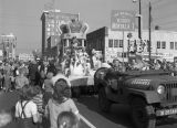 King of the Krewe of the Phantom Host on a float during the parade on Montgomery Street in...