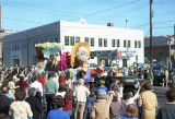 """Old McDonald Had a Farm"" float in the Krewe of the Phantom Host parade on Montgomery..."