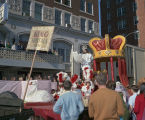 King of the Krewe of the Phantom Host reading a proclamation during the parade on Montgomery...
