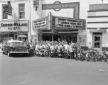 Montgomery Examiner paper boys outside the Charles Theatre at 61 Commerce Street in Montgomery,...