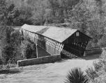 Copy photograph of the Miller Covered Bridge over the Tallapoosa River at Horseshoe Bend, Alabama.