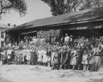 Copy photograph of members of the Montgomery Curb Market Association outside the market at Perry...