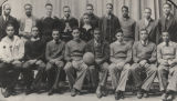 Boys' basketball team in casual dress at the State Teachers College in Montgomery, Alabama, later...