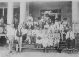Copy photograph of residents at the veterans' home in Mountain Creek, Alabama.