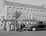 Students striking outside John William Beverly Hall at the Alabama State College for Negroes in...