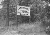 Sign for Camp McDowell at County Road 10 off Alabama Highway 195 in Nauvoo, Alabama.
