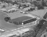 Aerial view of Cramton Bowl on Madison Avenue in Montgomery, Alabama.
