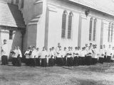 Copy photograph of choir boys at the Church of the Ascension at 315 Clanton Avenue in Montgomery,...