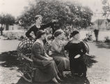Helen Keller and others with Charlie Chaplin.