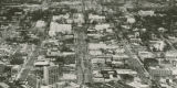 Aerial view of marchers approaching the Capitol in downtown Montgomery, Alabama, at the end of the...