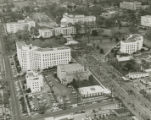 Aerial view of marchers approaching the Capitol on Dexter Avenue in downtown Montgomery, Alabama,...