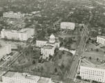Aerial view of the Capitol complex in downtown Montgomery, Alabama, before the arrival of marchers...