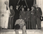 Eight Confederate veterans on the steps of the Capitol in Montgomery, attending the last known...