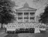 Copy photograph of doctors and staff in front of the main building at Bryce Hospital in...
