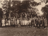 Reverend James Hugh Blair Hall with the students of the Zelosophian Academy, probably at New...