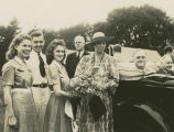 Franklin D. Roosevelt and Eleanor Roosevelt meeting with student representatives at the 4-H...