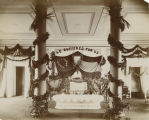 Jefferson Davis lying in state in the Supreme Court chamber of the Capitol in Montgomery, Alabama.