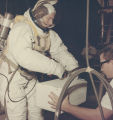 Bill Wood wearing a spacesuit while testing equipment for the Apollo 11 mission, either at the...