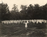 Students doing exercises in the schoolyard at the State Training School for Girls in Chalkville,...