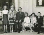 Governor George C. Wallace with his wife, Lurleen, and their family at the Governor's Mansion in...