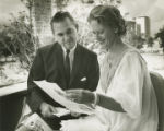 Lurleen and George Wallace reading letters sent during her cancer treatment at the M. D. Anderson...
