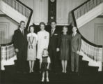 Governor George C. Wallace with his wife, Lurleen, and their family on the staircase of the...
