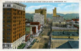 """Business Section of 20th St. Looking South From Tutwiler Hotel, Birmingham, Ala."""