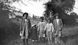 Five African American children in rural Wilcox County, Alabama.